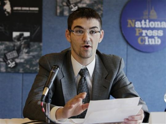 Iraq war veteran Tyler Einarson talks at the National Press Club about the Sabo v. United States lawsuit.